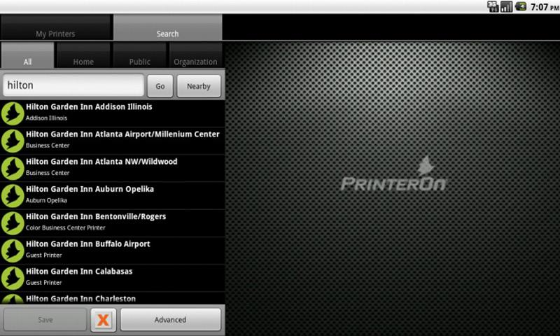 PrinterOn Android App - Tablet - screenshot