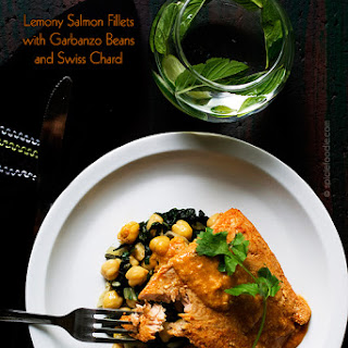 Lemony Salmon Fillets with Garbanzo Beans and Swiss Chard