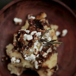 Rosemary Browned Butter Mashed Potatoes With Goat Cheese and Balsamic Glaze.