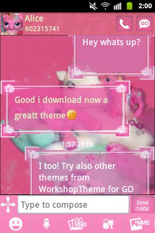 GO SMS PRO Theme Pink Pony - screenshot