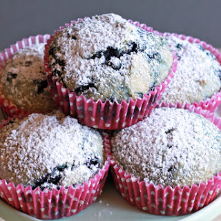 Healthy Blueberry Oat Bran Muffins.