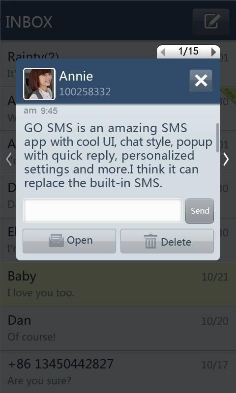 GO SMS Pro SimpleBlue theme screenshot #2