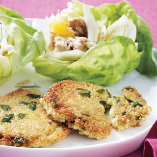 Tuna-and-Orange Lettuce Cups with Couscous Cakes.