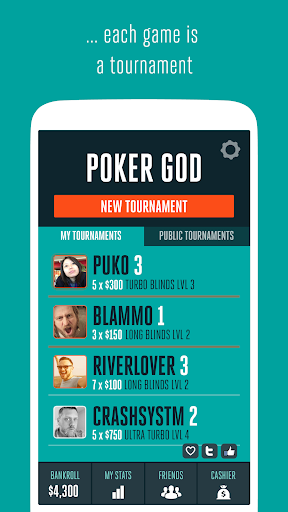【免費紙牌App】Poker God - Heads Up Poker-APP點子