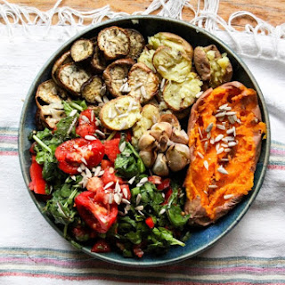 Roasted Veggies With Buttery Garlic and Spinach Salad.