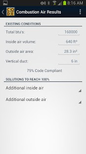 Combustion Air Calculator- screenshot thumbnail