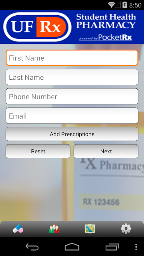 UF Rx Student Health Pharmacy- screenshot