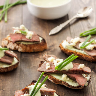 Steak Crostini with Blue Cheese Sauce.