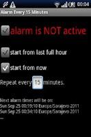 Screenshot of Alarm every 15 minutes