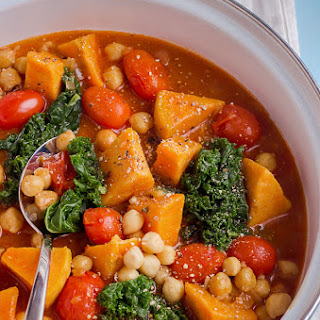 Sweet Potato, Kale and Chickpea Soup {Vegan}