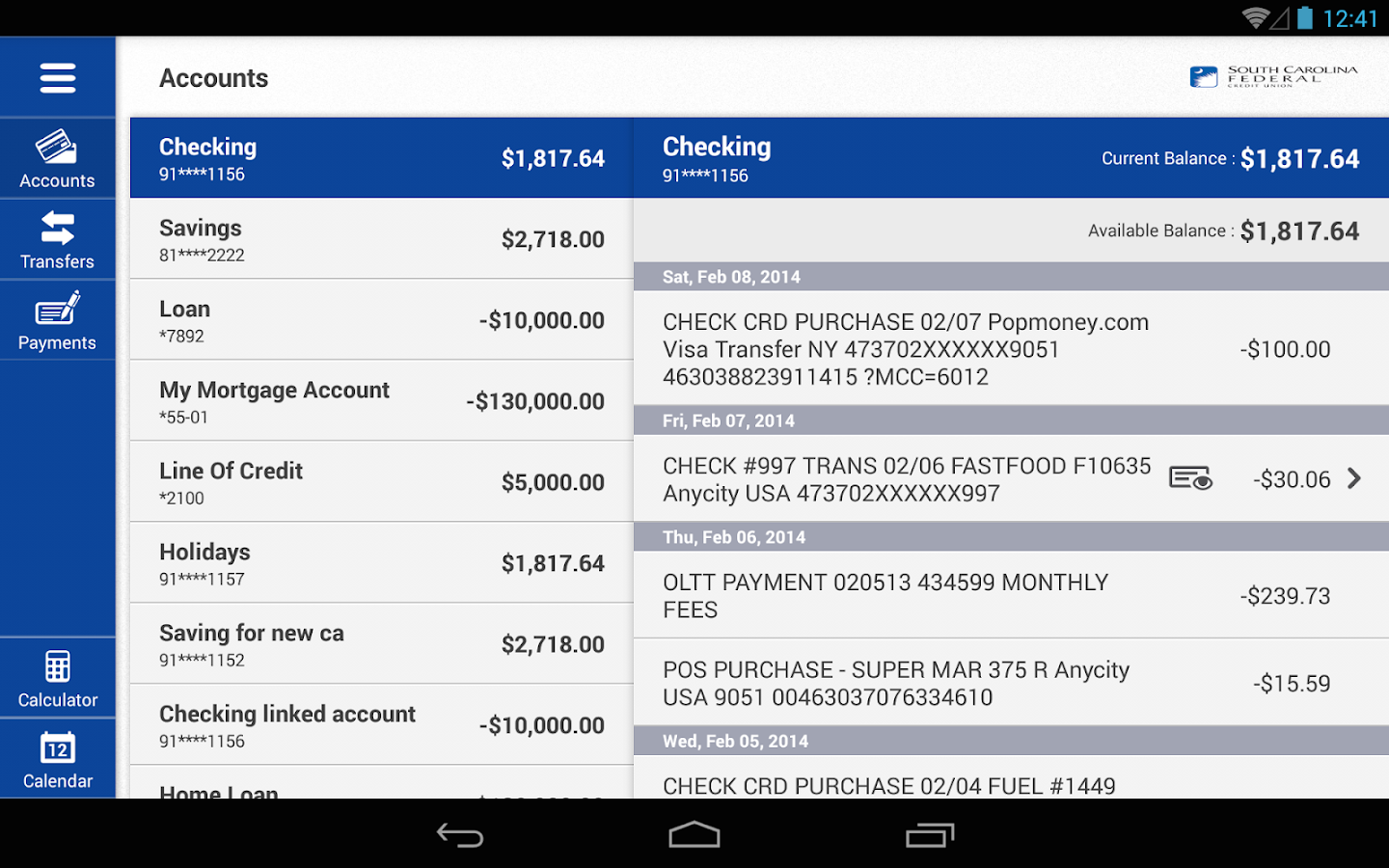 SC Federal Credit Union Mobile- screenshot