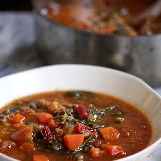 Moroccan Red Lentil Soup with Chard.