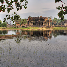 Sun Rise at Hindu Temple, Angkor Wat, Siem Reap, Cambodia by Arvind Mallya - Buildings & Architecture Places of Worship ( water, temple, lake, sunrise, angkor wat )
