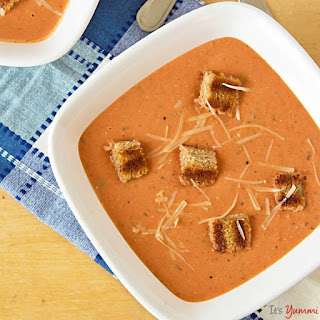 Homemade Cream of Tomato Soup with Grilled Cheese Croutons