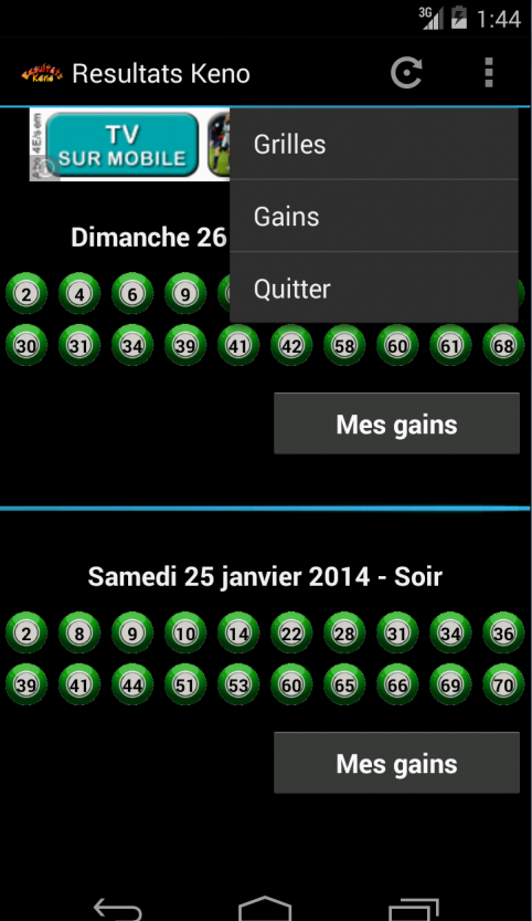 Resultats keno android apps on google play - Keno resultat grille gain ...
