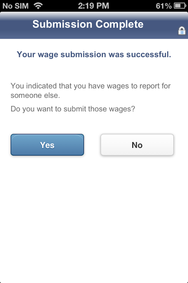 SSI Mobile Wage Reporting - screenshot