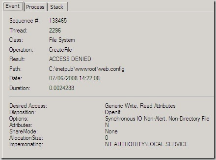 Image showing that the wmsvc process was impersonating the NT AUTHORITY\LOCAL SERVCE account when its' access was denied.
