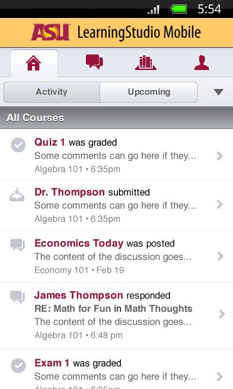 ASU LearningStudio Mobile - screenshot