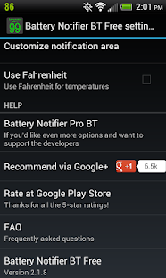 Battery Notifier BT Free - screenshot thumbnail