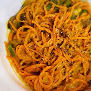 "Sweet Potato Noodles with Roasted Red Pepper ""Cream"" Sauce"
