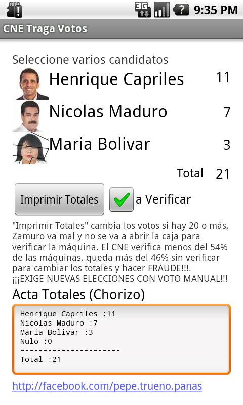 Venezuela 2013 CNE Traga Votos - screenshot