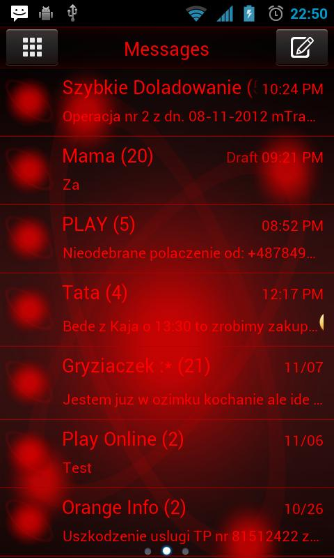 GO SMS Pro Red Orbit - screenshot