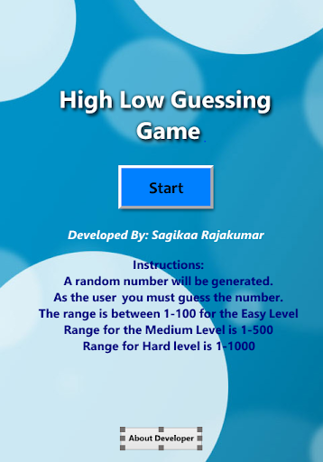 High Low Guessing Game Lite
