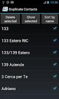 Screenshot of Duplicate Contacts