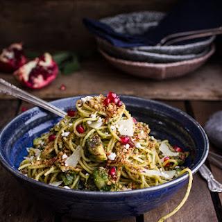 Manchego Brussels Sprout + Prosciutto Spaghetti w/Brown Butter Pistachio Pangrattato..