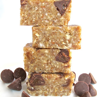 Coconut Oat Bars with Chocolate Caramel Chips.