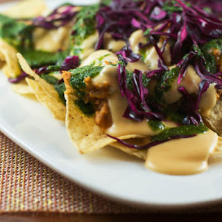 Nachos with Cabbage, Beans, and Cilantro Sauce
