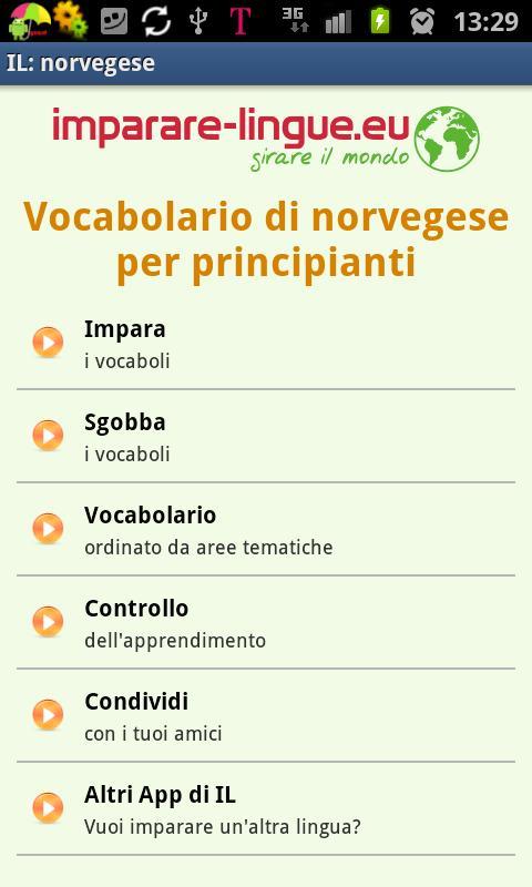 Imparare il norvegese- screenshot
