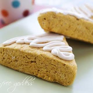 Gluten-Free Pumpkin Scones with Maple Nutmeg Icing.