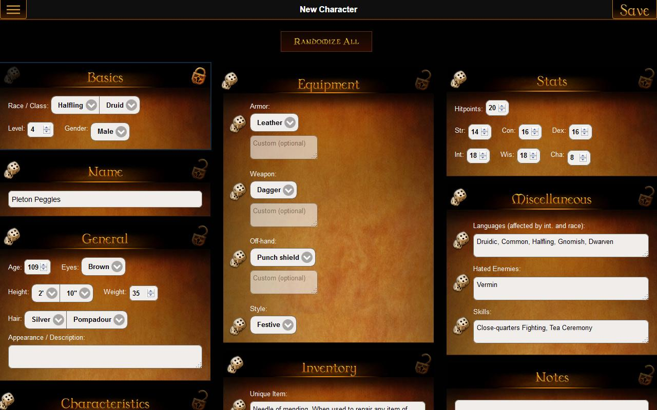 GM Wizard: Character Generator- screenshot