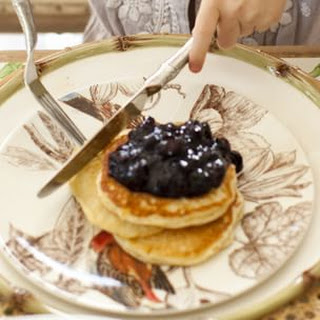 Lemon-Ricotta Pancakes with Blueberry Compote.