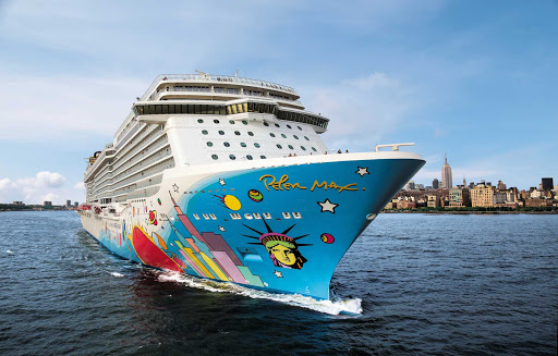Norwegian-Breakaway-New-York-2 - New York looms as a backdrop to Norwegian Breakaway, whose distinctive artwork was designed by Peter Max.