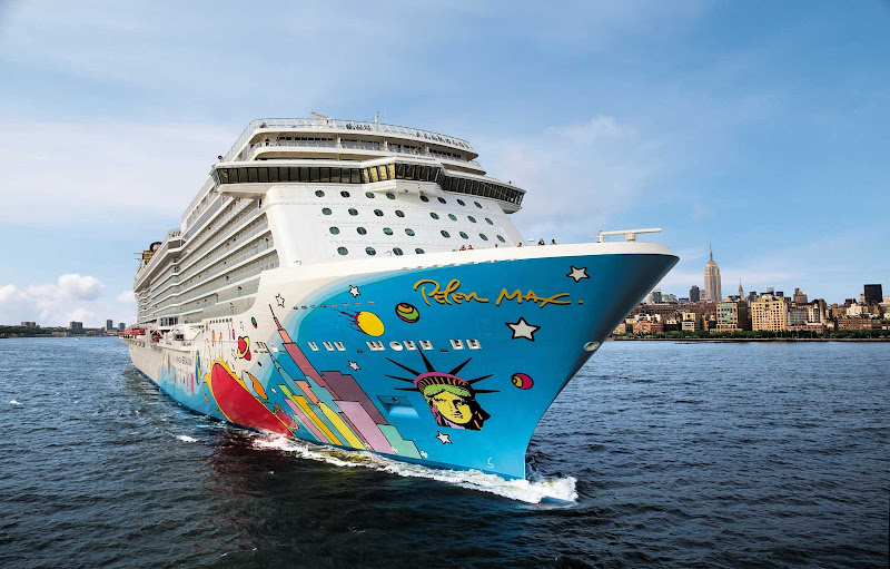 New York looms as a backdrop to Norwegian Breakaway, whose distinctive artwork was designed by Peter Max.