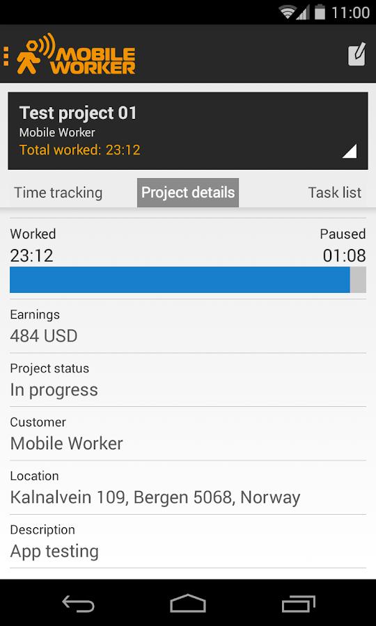 Timesheet - Mobile Worker - screenshot