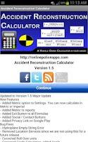 Screenshot of Accident Recon Calculator