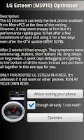 Screenshot of LG Esteem Optimizer **ROOT**