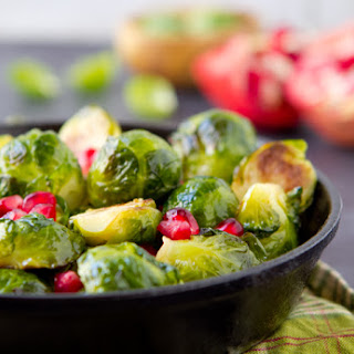 Sauteed Brussels Sprouts with Pomegranate and Balsamic Vinegar