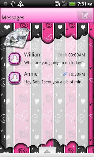 GO SMS THEME BJeweledHearts4U