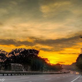 Beautiful sunrise alone the highway  by Stephen Ckk - Landscapes Sunsets & Sunrises