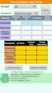 Control Calidad Hormigon EHE: miniatura de captura de pantalla