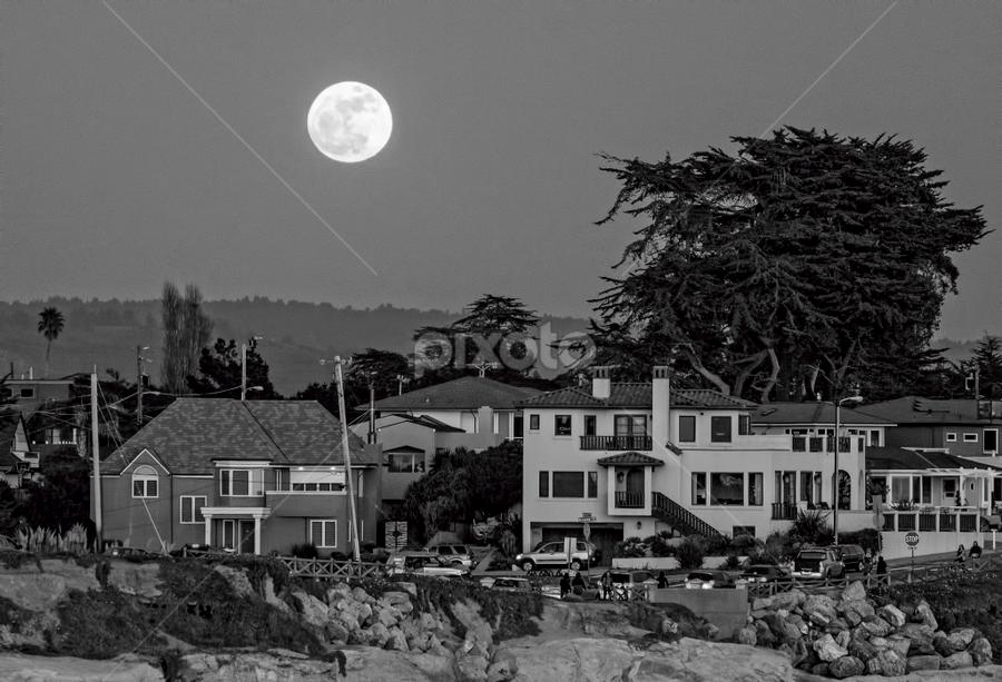Moonrise Over Santa Cruz 1 by Available Light Photography - Black & White Landscapes