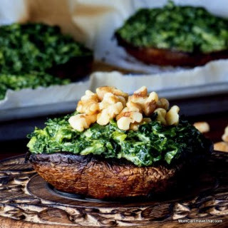Grilled Portobellos Stuffed With Curried Spinach.