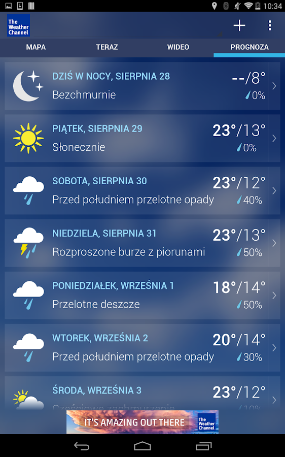 The Weather Channel – zrzut ekranu