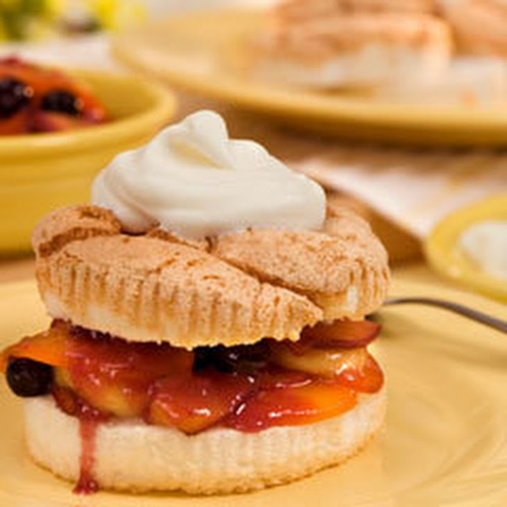 Angel Food Cakes with Warm Fruit Compote Recipe