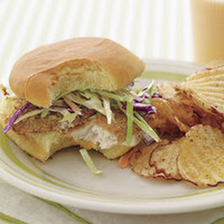 Fish 'n' Chips Sandwiches with Broccoli Slaw.