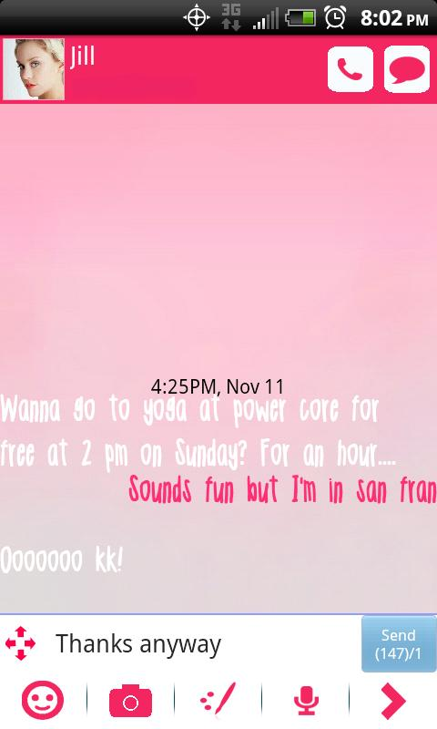 GO SMS THEME Pretty in Pink - screenshot